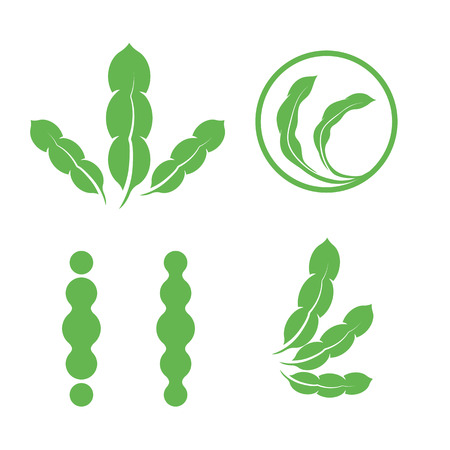 Set of green isolated leaves logos. Plant elements logotype collection. Natural products sign. Leaf symbol. Healing herbs icon. Vector illustration