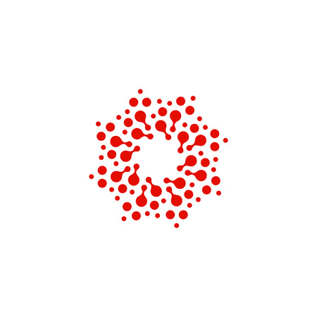 Abstract circle logotype. Unusual dotted round isolated chem logo. Virus icon. Red sun. Flower symbol. Spiral sign.Vector illustration Illustration