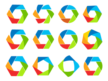 Isolated abstract colorful hexagon and round shape logo collection. Geometric logotypes set on white background. Photo lens elements vector illustration