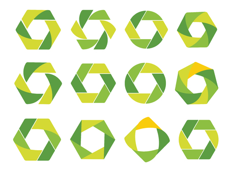 Isolated abstract green hexagon and round logo. Geometric eco logotypes set on white background. Organic products icon. Natural elements sign. Vector circulation illustration Illustration