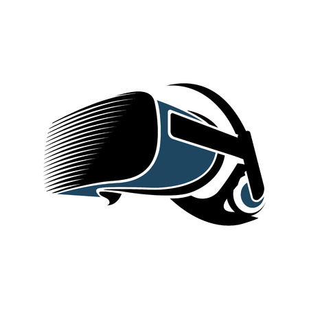 Isolated vr headset logotype on white background. Black color virtual reality helmet logo. Head-mounted display icon. Modern gaming device. Simulation smartglasses vector illustration Vettoriali