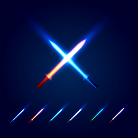 longsword: Isolated blue and red color cossed light swords logo. Futuristic movie weapon logotype set. Sabre with fire force icon. Lightsaber signs collection. Scifi shiny neon longsword vector illustration