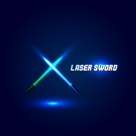 longsword: Isolated cossed light swords logo. Futuristic movie weapon logotype. Sabre with fire force icon. Lightsaber signs. Scifi shiny neon longsword vector illustration