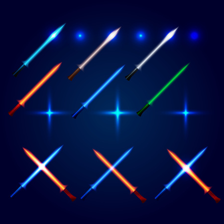longsword: Isolated blue and red color cossed light swords logo set. Futuristic movie weapon logotype. Sabre with fire force icon. Lightsaber signs collection. Scifi shiny neon longsword vector illustration Illustration