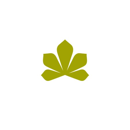 chestnut tree: Isolated abstract flat green color logo. Chestnut tree leaf on white background vector illustration. Nature element logotype