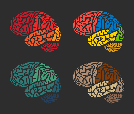 hemispheres: Isolated abstract colorful brain logo collection. Human cerebral hemispheres on black background logotype set