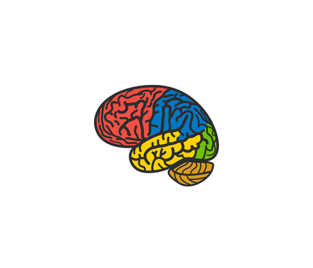 Isolated abstract colorful brain logo. Human cerebral hemisphere on white background logotype