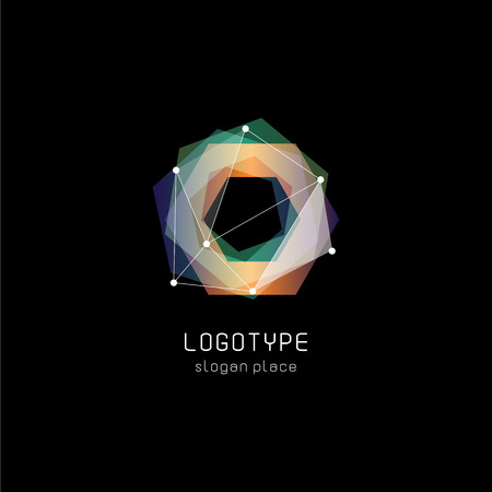 Unusual abstract geometric shapes vector logo. Circular, polygonal colorful logotypes on the black background Stock Illustratie