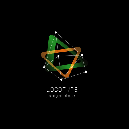 atomic symbol: Unusual abstract geometric shapes vector logo. Circular, polygonal colorful logotypes on the black background Illustration