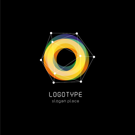 Unusual abstract geometric shapes vector logo. Circular, polygonal colorful logotypes on the black background Illusztráció