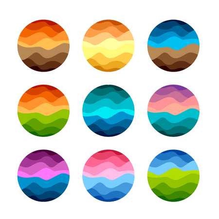 Isolated abstract colorful round shape logos set on white background vector illustration. Иллюстрация