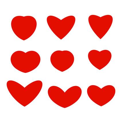 Lokalisierte abstrakte rote Farbherzen der unterschiedlichen Formlogosammlung, eingestellte Vektorillustration der Liebesymbole. Logo