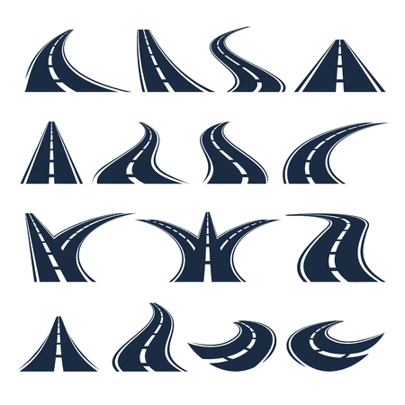 Isolated black color winding curved road or highway with dividing markings on white background vector illustrations set. Иллюстрация