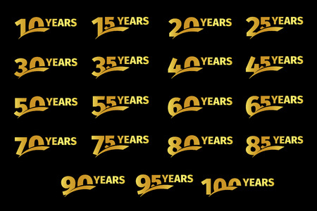 85 90: Isolated golden color numbers with word years icons collection on black background, birthday anniversary greeting card elements set vector illustration.
