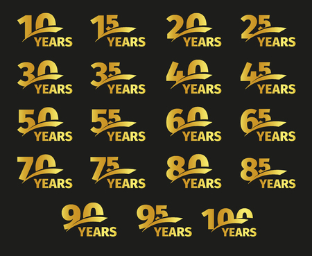 85 90: Isolated golden color numbers with word years icons collection on black background, birthday anniversary greeting card elements set vector illustration