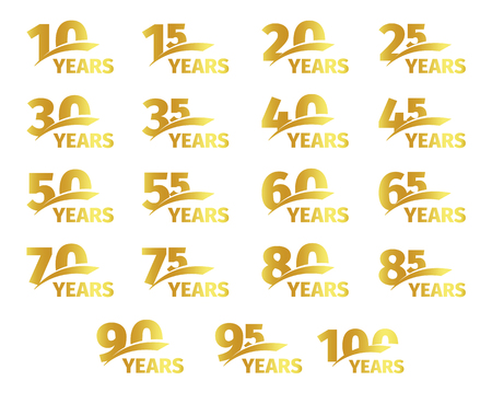 Isolated golden color numbers with word years icons collection on white background, birthday anniversary greeting card elements set vector illustration