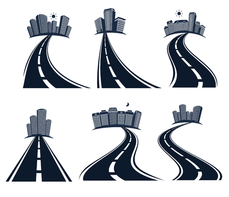 Isolated highway road with dividing marking and cityscape icons collection vector illustration Illustration