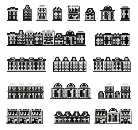 lowrise: Isolated black and white color low-rise municipal houses in lineart style icons collection, elements of urban architectural buildings vector illustrations set Illustration
