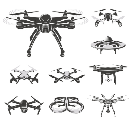 Isolated quadcopter, rc drone logo collection, fpv device logotype set vector illustration Vettoriali