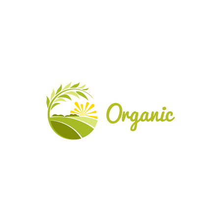 fertility emblem: Isolated abstract green color round shape sunny meadow logo, agricultural logotype vector illustration. Illustration