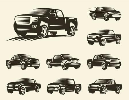 Isolated monochrome pickup trucks logo set, cars logotypes collection, black color automotive vehicle vector illustration. Stock Photo