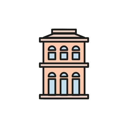 lowrise: Isolated pink color low-rise municipal house in lineart style icon, element of urban architectural building vector illustration.