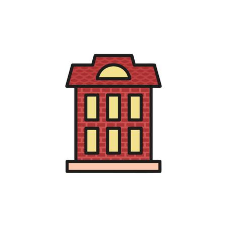 Isolierte weinig Farbe Flachbau Gemeindehaus in linearen Stil-Ikone. Standard-Bild - 72992071