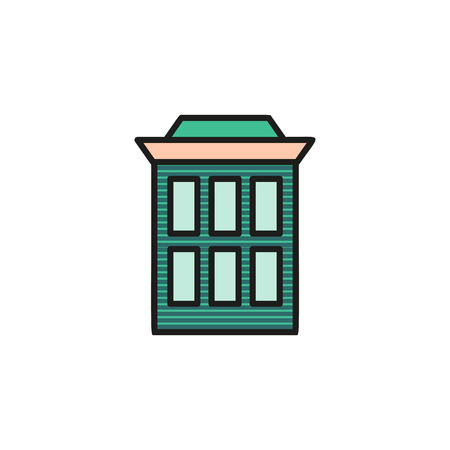 lowrise: Isolated brown turquoise low-rise municipal house in lineart style icon, element of urban architectural building vector illustration.