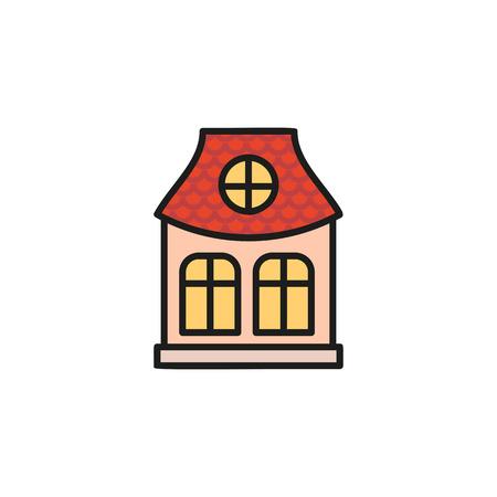 Isolierte rosa Farbe Flachbau Gemeindehaus in linearen Stil-Ikone. Standard-Bild - 72992072