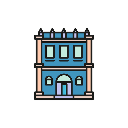 lowrise: Isolated blue color low-rise municipal house in lineart style icon, element of urban architectural building vector illustration.