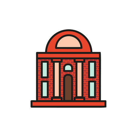 Isolated vinous color low-rise municipal house in lineart style icon, element of urban architectural building vector illustration. Illustration
