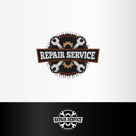 Isolated repair service, wrenches and gears elements, mechanical tools illustration Illustration