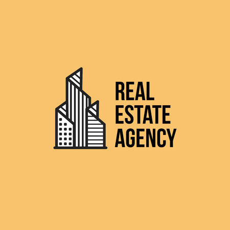 Isolated colorful real estate agency , house on white, home concept icon, skyscrapers illustration