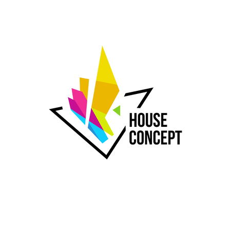 Isolated colorful real estate agency , house on white, home concept icon, skyscrapers illustration. Illustration