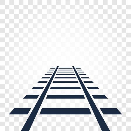 Carriles aislados, vista superior de ferrocarril, elementos de escalera de elementos en el fondo degradado cuadriculado