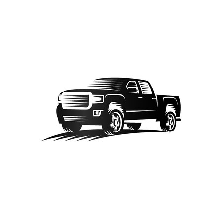 Isolated monochrome engraving style pickup trucks, cars, black color automotive vehicle illustration