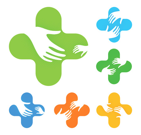 Isolated abstract colorful cross with two hands reaching each other logo set.