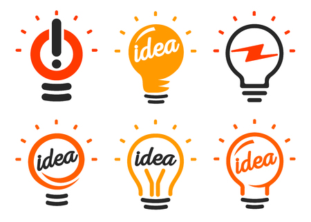 buld: Stylized set of vector lightbulbs, collection colorful logotypes. New idea symbols, flat bright cartoon bulbs. White and orange colors sign. Idea icon, circle logo.