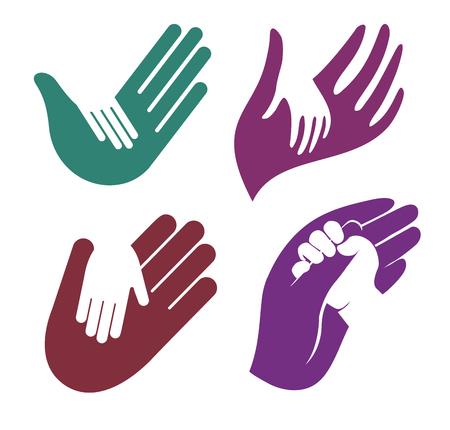 孤立した抽象的なカラフルな子供と大人の手のロゴを設定。  イラスト・ベクター素材