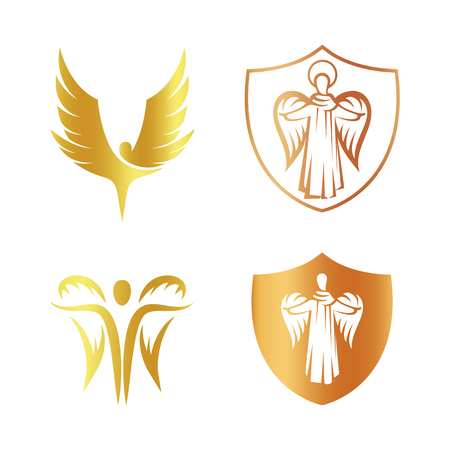 orthodoxy: Isolated golden color angel silhouette logo set, shield with religious element.