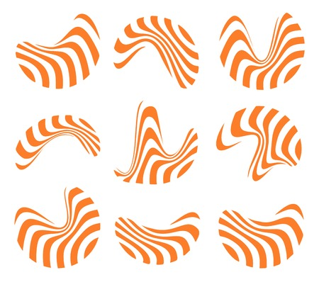 Isolated abstract orange and white logo set of wavy lines, curve shape striped logotype.