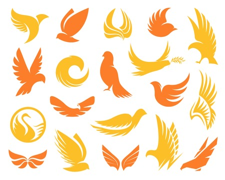 Isolated abstract yellow and orange color birds silhouettes logos collection.
