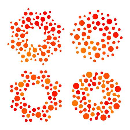 Conjunto de logotipo de color naranja y rojo de forma redonda abstracta aislada, colección de logotipo de sol estilizado punteado. Logos