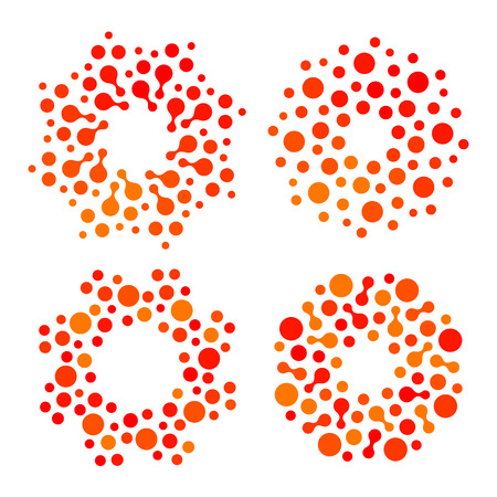 Isolated abstract round shape orange and red color logo set, dotted stylized sun logotype collection.