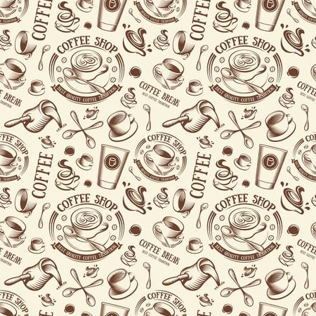 Isolated brown color cup in retro style background, coffee shop backdrop vector illustration