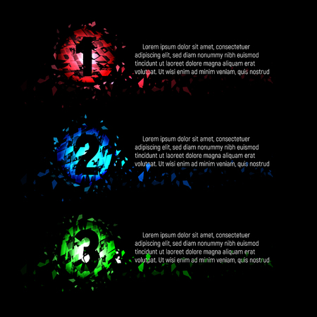 paragraphs: Isolated abstract colorful round shape 1,2,3 numbers of broken pieces of glass with text on black background, menu items presentation vector illustration