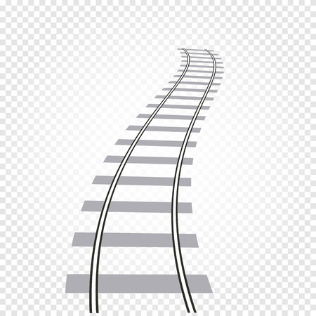 Isolated abstract grey color railway road on checkered background, ladder vector illustration Stok Fotoğraf - 75343146