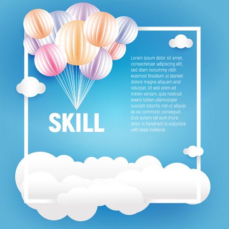 Origami fait des ballons colorés et des nuages dans le style de l'art papier sur fond bleu, illustration vectorielle élément vacances Banque d'images - 75343124