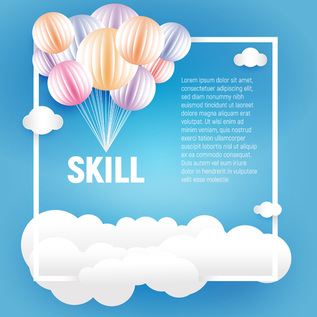 Origami made colorful balloons and clouds in paper art style on blue background,holiday element vector illustration
