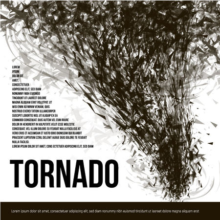 catastrophe: Isolated abstract black color tornado of dust in low poly style on white background banner, garbage hurricane vector illustration